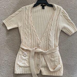 BCBG MAXAZRIA Cream Knit Short Sleeve Sweater